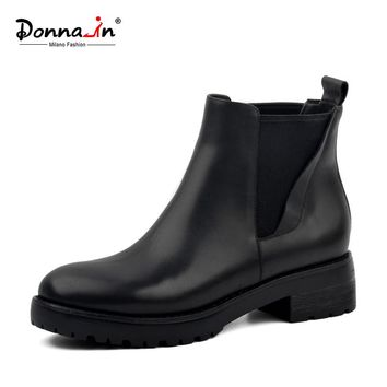 Donna-in women's winter boots genuine leather Chelsea  women boots real wool fur inside snow boots thick outsole low heels warm