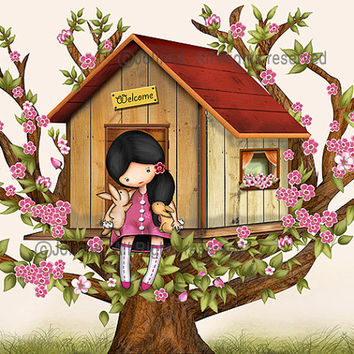 Kids art, wall art, poster, girl in tree house illustration, nursery art