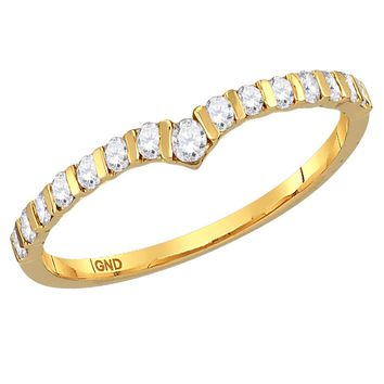 14kt Yellow Gold Womens Round Diamond Chevron Stackable Band Ring 1/4 Cttw