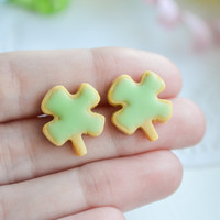 Four Leaf Clover Sugar Cookie Earrings-Sugar cookie collection-Scented-Miniature food jewelry