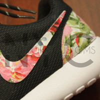 save off fc0d6 1e0c2 Nike Roshe Run Black White Rose Symphony Floral Print Custom Men   Womens