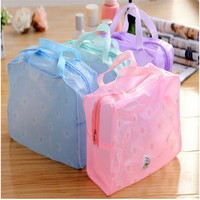 Fashion Makeup Bag High Quality Cosmetic Pouch Travel Wash Bag for Woman PVC Waterproof Floral Clear Bag Wash Bath Bag