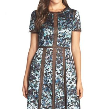Women's BCBGMAXAZRIA 'Adalina' Embroidered Mesh Tulle Fit & Flare Dress,