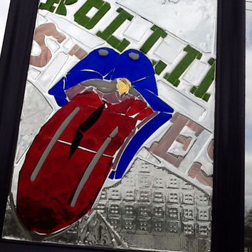 "Rolling Stones Stained glass Mosaic Window Art / Sun Catcher 14"" x 11"" OOAK Handcrafted Rock n Roll , music ,band , Mick Jagger"