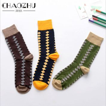 CHAOZHU Vintage Men Socks Jacquard Navy/Coffee/Green Argyle Pattern Ethnic Geometric 200 Needles Cotton Knitting Tube Socks Male