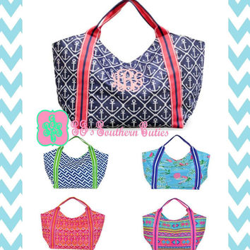 Monogrammed Beach Tote Bag / Monogram Tote Bag