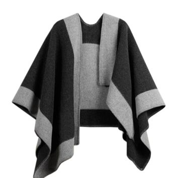 Layla Cape - Black & Grey Color Block