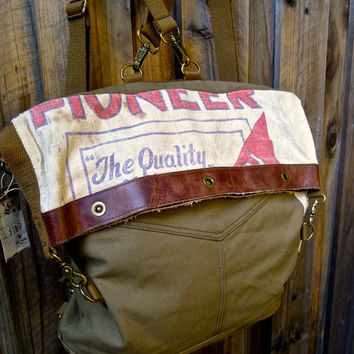 Pioneer Seeds - Convertible Fold-over Hobo Backpack - Up-cycled OOAK Canvas & Leather Tote... Selina Vaughan