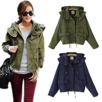 Hooded String Belt Plus Size Casual Loose Coat