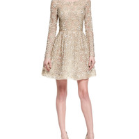 Oscar by Oscar de la Renta Shimmer-Lace Fit-and-Flare Dress, Nude Gold