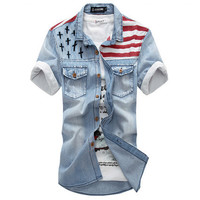 Patriotic Faded Denim Shirt SOS