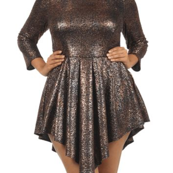 Plus Size Shine Bright Copper Glitter Skater Dress, Plus Size Clothing, Club Wear, Dresses, Tops, Sexy Trendy Plus Size Women Clothes