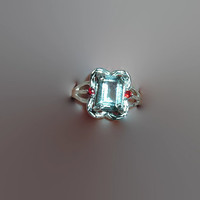 Green Amethyst Prasiolite and Red Sapphire Sterling Silver Ring  Size 6 Free Shipping