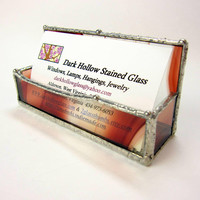 Streaky Stained Glass Business Card Holder Earthy Red and Clear Spectrum Baroque Glass for Desk Display