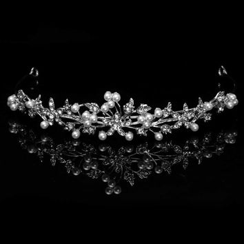 Bridal Tiara Crown Silver With Rhinestone Flowers Accented With Mini Pearls