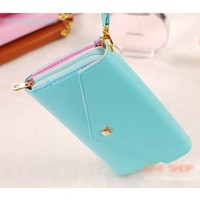 BCL13 Fashion Korean Cute PU Leather Wallet Crown Case for Samsung Galaxy S5,S4,S3,S2,Note 2 N7100, i9220, iPhone 5S,4S/4 (Mint)