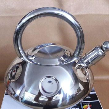 FREE SHIPPING Water kettle pot 3 Litre Whistling SS#304 stainless steel gas/induction cooker thickening honking teapot