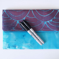 Purple & Blue Wave Slouchy Fold Over Zipper Clutch Bag