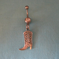Belly Button Ring - Body Jewelry - Silver Cowgirl with Clear Gem Stone Belly Button Ring