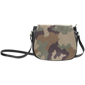 Women Shoulder Bag Army Camo Classic Saddle Bag Large
