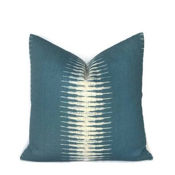 Peter Dunham Ikat Pillow Cover in Peacock, Decorative Throw Pillow, Sofa Pillows, Blue Pillows, Home Decor