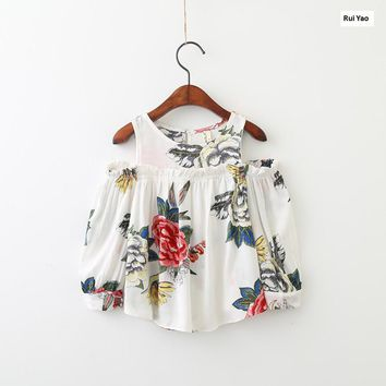 YW70907333 Spring Fashion Baby Girl Shirt Print Flower Girls Blouse Hollow Out Shoulder Full Sleeve Girls Clothes Lolita