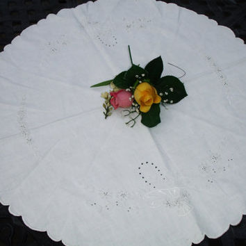 """French Centerpiece Doily Round doily embroidered, flower basketd, white on white , French country decor, cottage chic, 25"""" round"""