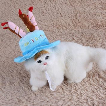 Pet Costume Birthday Party Caps Cake Candles Hats Accessory For Dogs Small Animals Pet Dog Supplies