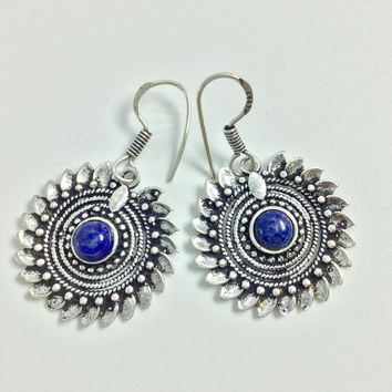 Tribal Lapis Silver Earrings