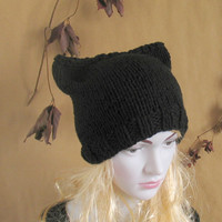 Cat Ear Hat, Black Cat Hat, Knit Cat Ear Hat, Cat Beanie, Womens Cat Hat - Hat BLACK - Hand knitted - Knit Hat Cat - Hat Cat Beanie