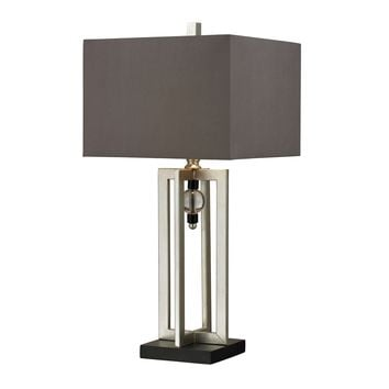 D228 Silver Leaf Table Lamp With Crystal Accents And Grey Shade - Free Shipping!