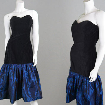 Vintage 80s Party Dress Black Velvet Dress Blue Taffeta Dress Strapless Dress 1980s Prom Dress Cocktail Dress Iridescent Dress Drop Waist