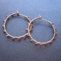 Cleopatra 11 Hammered hoops with garnet by CalicoJunoJewelry
