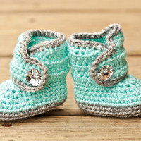 Crochet Baby Booties - Baby Boots - Mint Teal and Grey Baby Shoes Bling - Bling Baby Booties - UGG Inspired
