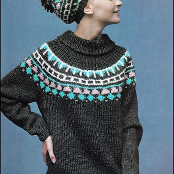 "No.183 PDF Vintage Knitting Pattern Women's Fair Isle Ski Sweater & Matching Hat - Instant Download - Finished Bust Sizes 38"", 42"""