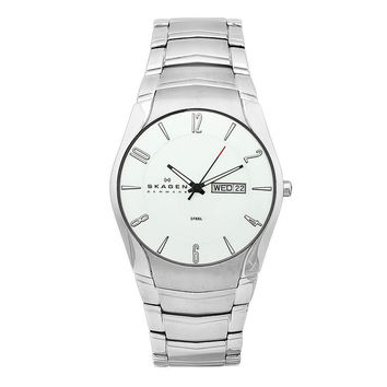 Skagen 531XLSXC Men's Day and Date Silver Dial Stainless Steel Bracelet Watch