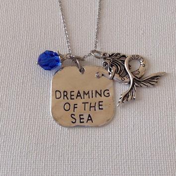 Dreaming of the sea necklace, mermaid necklace, beach lovers, beach weddings, bridemaids, mermaids, gifts for her, mothers day