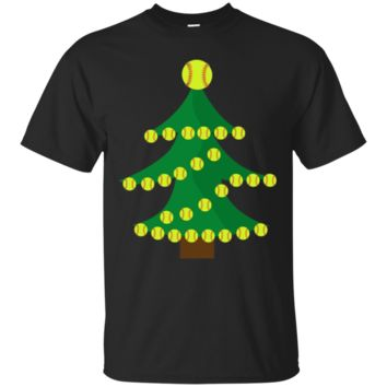 Funny Softball Christmas Tree T-Shirt Hoodie For Kids And Adults