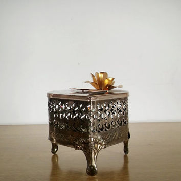 Vintage Metal Filigree Trinket Box Heart Shaped, Vintage Filigree Footed Tin Trinket Box