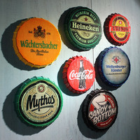 Vintage Style Beer Cap Tin Sign 35cm