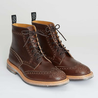 Tricker's Limited Edition Leather Brogue Boot in Dark Brown Wax