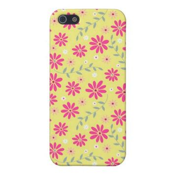 Retro Pink and Yellow Floral Pattern iPhone 5 Case