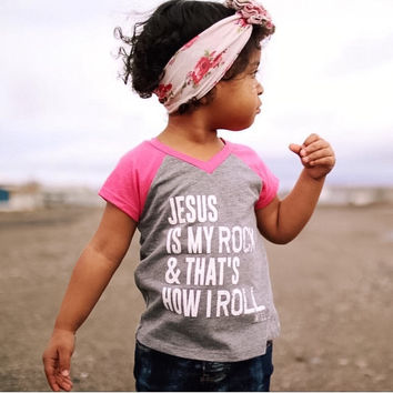 Jesus Is My Rock Kids Tee - Pink
