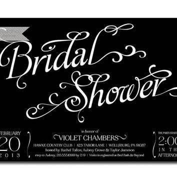 Modern Bridal Shower Invitation Black & White Calligraphy Typography Elegant Chic Wedding Shower Invite Printable or Printed - Violet Style