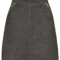 TALL Exclusive Suede Zip Skirt - Grey
