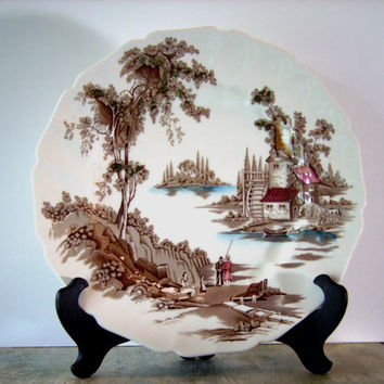 VINTAGE JOHNSON BROTHERS Charger   - The Old Mill  -  Circa 1970  - Transferware Made in England  , 11-3/8""