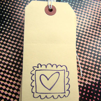 heart gift tag handmade tag shabby chic large by TheDorothyDays