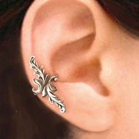 Double feather silver ear cuff earring jewelry - 925 sterling earcuff 080612