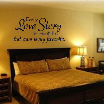 "Wall Stickers home decor -English quote ""every love story is beautiful"" Vinyl Lettering Words"