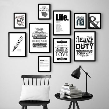 Nordic Minimalist Black White Letter Leaf  Art Print Poster Abstract Wall Picture Canvas Painting No Frame Kids Room Decor FC074